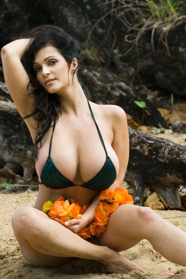 Denise milani green bikini